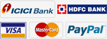 We Accept Payment through ICICI Bank, Hdfc Bank, Visa, Master Card, Paypal